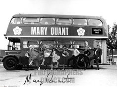 Mary Quant in front of her Beauty Bus , 1960s . British fashion designer , 11 February 1934 . stock photo