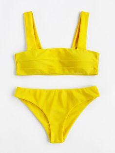 Wide Strap High Leg Bikini Set