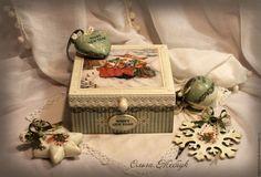 """Купить Набор ёлочных игрушек в шкатулке """" Зайкино Рождество """" - мятный, ёлочные украшения"""