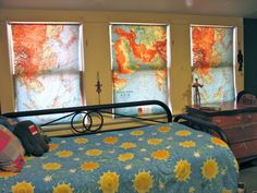 old schoolroom maps over cheap roller shades make cool window treatments! http://www.oregonlive.com/hg/index.ssf/2011/05/creative_reader_katy_wolk-stan.html