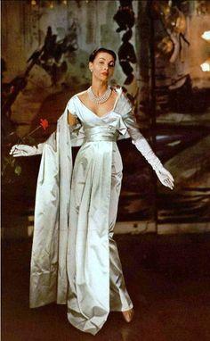 1955 Renée Breton in Christian Dior's elegant white satin gala evening gown, photo by Georges Saad at chez Véronèse