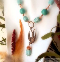 Wire Wrapped Gemstone Necklace  Flying Sparrow  by SmokySpirit, $62.00