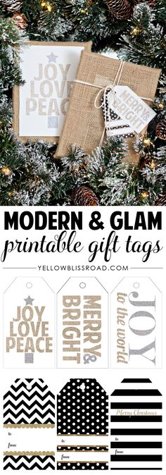 Printable Glitter Christmas Sign and Gift Tags Modern & Glam Free Printable Christmas GiftTags Christmas Gift Tags Printable, Holiday Gift Tags, Free Christmas Printables, Holiday Crafts, Holiday Fun, Free Printables, Printable Tags, Christmas Signs, Winter Christmas