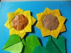 """折り紙の向日葵 簡単な折り方作り方 """"Sunflower"""" Oriami - YouTube"""