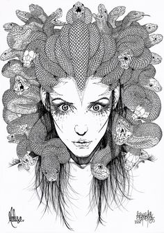 gorgana medusa - technical illustration / art / drawing