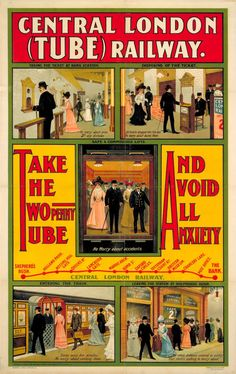 30th July ~ Happy birthday to the Central Line, which opened on this day in 1900 as the Central London Railway, running from Shepherd's Bush to Bank. It was known as the 'Twopenny Tube', as that was the cost for a single journey between any of its stations. This poster, dating from 1905, not only shows the map for the stations, but also instructs potential customers how to ride the trains. Find out more at the London Transport Museum.