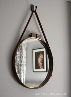 DIY embroidery hoop captain's mirror