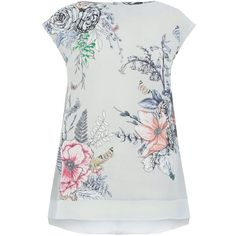 Oasis Enchanted Forest Placement Tee (2.750 RUB) via Polyvore featuring tops, t-shirts, women, jersey tee, floral lace top, white t shirt, floral tee и oasis t shirt