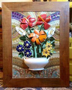 Resultado de imagen para Mosaic dog by Solange Piffer Mosaic Garden Art, Mosaic Pots, Mosaic Wall Art, Mosaic Diy, Mosaic Crafts, Mosaic Projects, Glass Wall Art, Tile Art, Mosaic Glass