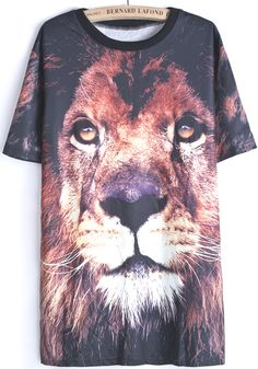 Black Short Sleeve Lion Print T-Shirt US$22.33
