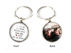 Customize Father of the Bride Keychain, Mother of the Bride Key chain, Wedding Gift, Double Side Photo Keychain