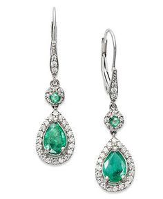 14k White Gold Earrings, Emerald (1-3/8 ct. t.w.) and Diamond (1/3 ct. t.w.) Pear Drop Earrings - Gemstones - Jewelry & Watches - Macys