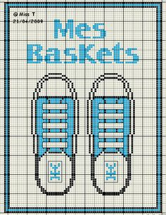 chaussures - shoe - baskets - point de croix-cross stitch - broderie-embroidery- Blog : http://broderiemimie44.canalblog.com/
