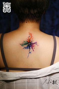 Résultats de recherche d'images pour « small watercolor compass tattoo »
