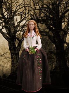 """Midwife from Sleepy Hollow - costume for 16""""Tonner doll. The skirt and bodice are embroidered by hand"""
