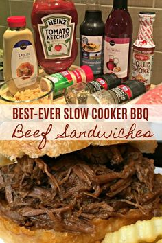 Best-Ever Slow Cooker Bbq Beef Sandwiches This Awesome Recipe Takes Minutes To Throw Together And Makes The Best Darn Bbq Beef Sandwiches Family Favorite Slow Cooker Bbq Beef, Slow Cooked Meals, Slow Cooker Recipes, Crockpot Recipes, Cooking Recipes, Bbq Beef Crockpot, Crockpot Potluck, Beef Barbecue, Bbq Roast