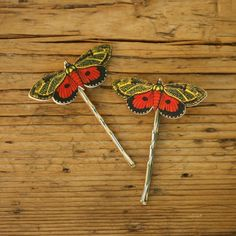 Orange and Black Butterfly Bobby Pins Hair Pins. $19.00, via Etsy.