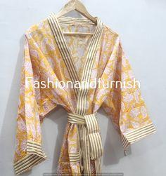 Cotton Kimono, Floral Kimono, Cotton Fabric, Festival Outfits, Festival Clothing, Morning Dress, Kimono Design, Bridal Party Robes, Women's Robes