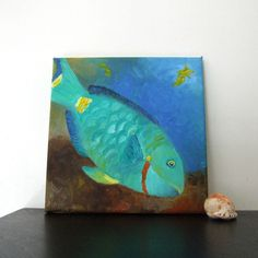 Original Painting, BLUE PARROT FISH, 8x8 Oil on Canvas, Home Decor, Tropical Art, Beach Art, Queen Angel, Blue Tang, Banner Fish. via Etsy.