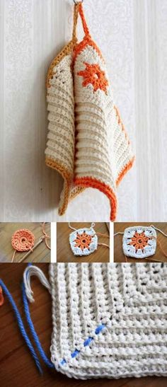 Crochet your own cozy potholders.