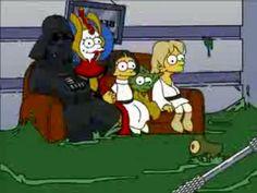 The Skywalker family sits down to some TV- Darth Simpson, Amidamarge, Princess Lisa, Yoggie & Luke Simpson
