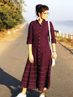 The ensemble story Purple kalidaar dress with yellow stichlines. A silhouette, shin-length brunch straight out the atelier. The designer story Silāi Studio Indian Designer Outfits, Indian Outfits, Designer Dresses, Party Wear Indian Dresses, Designer Kurtis, Kurta Designs Women, Blouse Designs, Slow Fashion, Ethical Fashion