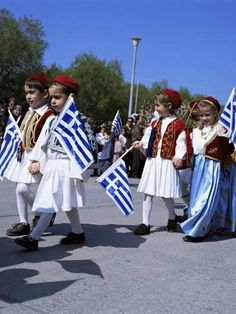 size: Photographic Print: Children in National Dress Carrying Flags, Independence Day Celebrations, Greece by Tony Gervis : Subjects Greek Independence, Guys In Skirts, Greek Flag, Greek Culture, Thinking Day, We Are The World, Folk Costume, Diy Costumes, Blue And White