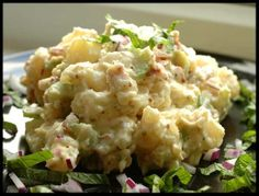 Have you ever posted a recipe and just love reading the reviews for it?  This is my signature potato salad.  Whenever there is a pot luck function at work, I am TOLD that I have to bring the potato salad.  No one else is allowed to and I am never given a choice.  Thank you everyone who ever tried this potato salad and for leaving such glowing reviews for it.  You all have made me look so good.  I personally can not stand eggs or raw onions, so I leave them out but I know most people dont…