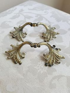 Vintage Ornate Drawer Pulls Handles Brass Pair Set of Two