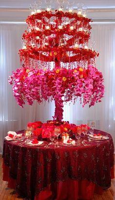 AMAZING !!   Extravagant wedding centrepiece for the table. - SJ #WeddingFlowers #RedFlowers #PinkFlowers #GlamorousWedding #WeddingDecor
