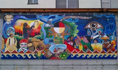 This mural is telling a story to keep tabacco sacerd. Native Americans used this product for special events, although I'm quite sure their stuff was way better than the crap they sell now to hook people. American Pride, Native American, Street Signs, Street Art, Reverse Graffiti, Native Girls, Oakland California, Visionary Art, Land Art