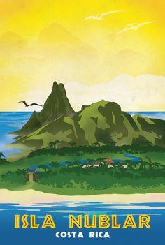 Isla Nublar Retro Jurassic Park Travel Poster Art Print