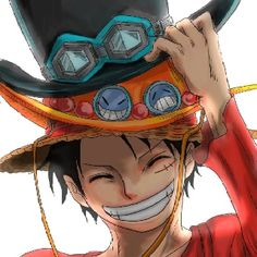 Luffy -One Piece-  it's really sad to see him with all three hats instead of all three of them.