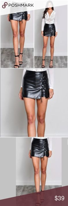 Black Faux Vegan Leather Lace Up Skort Skirt Brand new from a high quality premium vendor. Faux Leather Lace Up Mini SKORT! Mid rise. Shorts Skorts