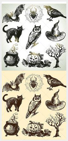 hand drawn halloween illustrations set