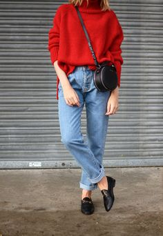 denim and red sweater outfit