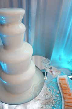 White chocolate fountain. Something different for the guest that are white chocolate fans. Also would look great side by side on a table with the classic dark chocolate fountain. Give your guests a choice : )
