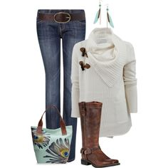 Who doesn't love an oversized sweater? Paired with feather earrings and bag to match, a winning look:)