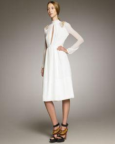 Burberry Prorsum   Shoulder-Detail Georgette Dress