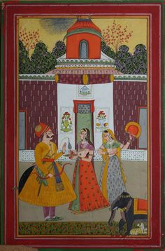 www.IndianMiniaturePaintings.co.uk - Indian miniature painting: illustration from a Baramasa series: the month of Jyeth. Marwar, late 18th century. Gouache, silver and gold on wasli. 29.8 x 19.3cm