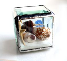One Of A Kind Stained Glass Cube Beachscape by LAGlass on Etsy