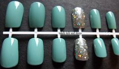 Tiffany Blue with Holographic Glitter Accent False Nail Set on Etsy, $11.92