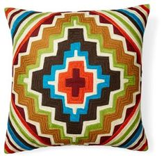 Santa Fe 20x20 Embroidered Pillow, Multi