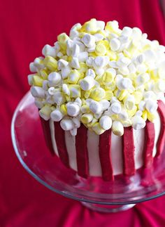 "awesome popcorn bucket cake.  perfect for a ""movie-night"" sleepover party."