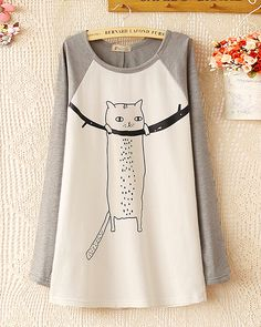 e9dabc545d34 Cute cartoon cat spell color printing thin cashmere T-shirt long-sleeved  sweater ·
