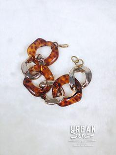 Tortoise shell & Gold Chunky Chain Bracelet, Gold Chain Bracelet, Statement Gold Bracelet, Fashion Bracelet by Urbansensedesign on Etsy