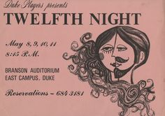 """Twelfth Night"" Poster, Duke Players, undated"