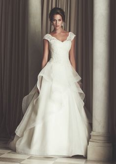 Paloma Blanca - V-Neck A-Line Gown in Lace