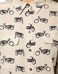 Image 3 ofEquipment Signature Silk Shirt in Motorbike Print (Too expensive but I'm going to look for this print on other cheaper alternatives)