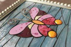 Mariposa cerámica y vidrio